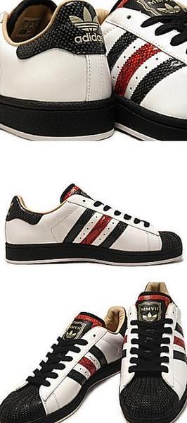 Adidas original SUPERSTAR 1 LUX MMVII 白黑紅 蛇紋限定1