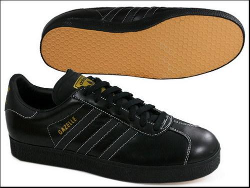 Adidas vintage Gazelle07 2代 黑PVC皮 金 Logo
