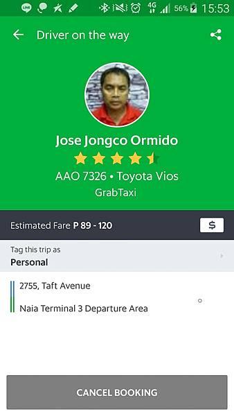 06菲律賓學英文司機上頭顯示名字車號車型號GrabVito.jpg