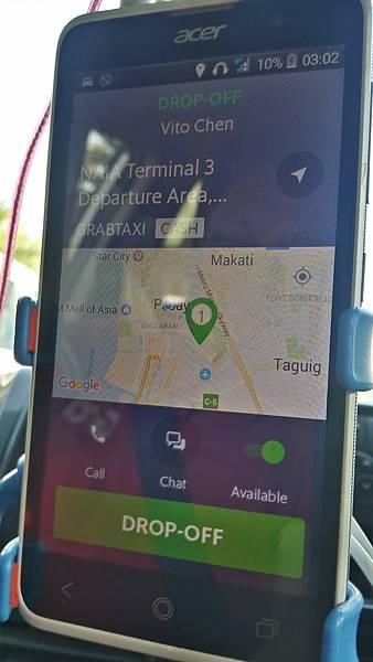 11菲律賓學英文司機的手機顯示GrabVito.jpg