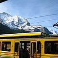 鮮黃的車身搭配白藹藹的山頭