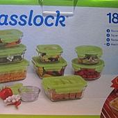 564411 Glasslock 玻璃保鮮合組 含蓋共18件 韓國製 999 01