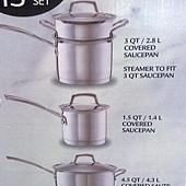 673981 Kirkland Signature 不鏽鋼鍋具13件組腹部鏽鋼蓋(平底鍋除外) 泰國製 5999 09.jpg
