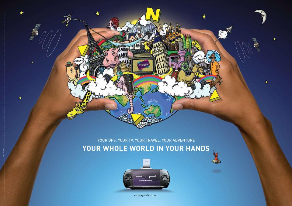 旅行廣告範例N07-消費電子產業Sony PSP掌上遊戲機(imagedj典匠資訊圖庫專業知識分享)