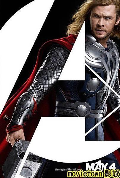 movietown影城《復仇者聯盟》全新8大角色海報+《復仇者聯盟》先行版電影預告片2(圖+新聞+影)05雷神索爾 Thor (複製).jpg