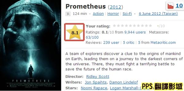 普羅米修斯 IMDB影評評價│异形前传普罗米修斯 IMDB影评评价Prometheus (2012) - IMDb新