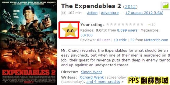 浴血任務2目前廣受觀眾愛戴;在美國電影權威網站imdb的評分高達8.0!The Expendables 2 (2012) - IMDb