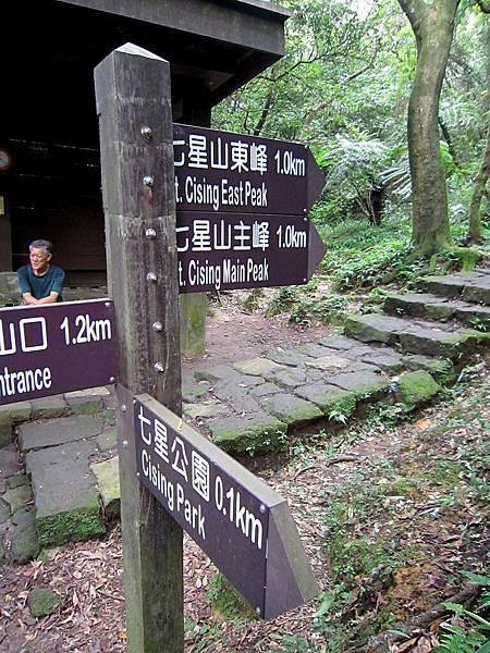 爬了1.3公里才到七星公園 但有guts的人當然要征服主峰