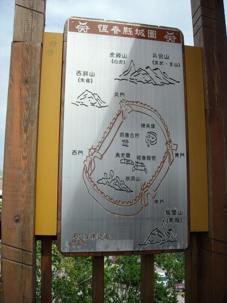 景觀台上的恆春縣城圖,有朱雀青龍白虎和玄武哦