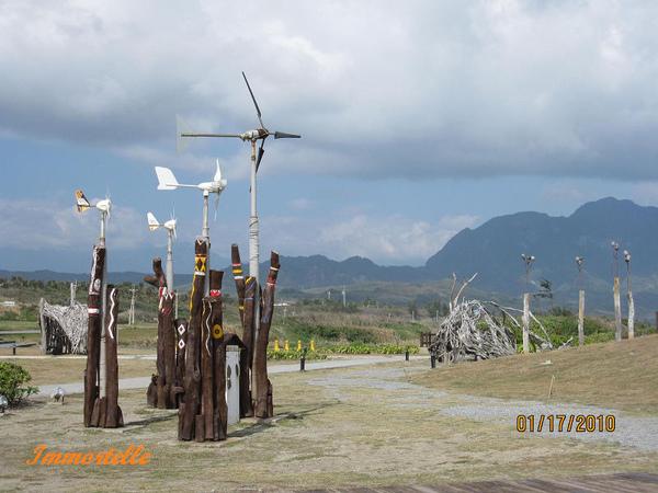 漂流木裝置,以及風車-那裏風非常大