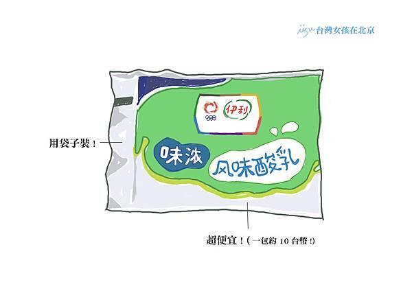 【台灣女孩在北京】北京酸奶(優酪乳)有多狂-伊利袋裝