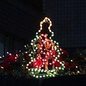 96.不知道是誰家的社區大樓門面,這樣用燈線排成聖誕樹,好可愛~