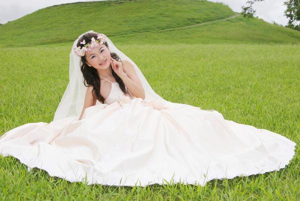 夢幻的新娘在翠綠的草地上
