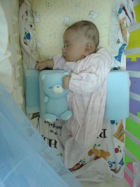 5/8 買了個側睡枕,來給Schnappi調整頭型用的