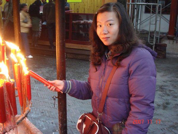在寒山寺點平安燭