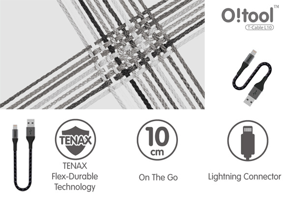 Ozaki O!tool T-cable 10cm USB to Lightning 超堅固編織棉線