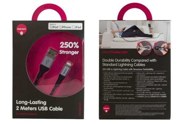 Ozaki O!tool T-cable 2M USB to Lightning 超堅固編織棉線