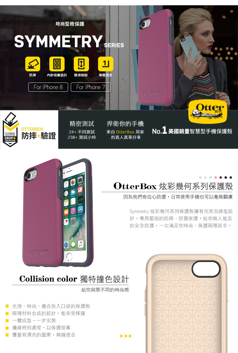 OtterBox Symmetry 炫彩幾何系列保護殼 for iPhone 7 / 8 plus