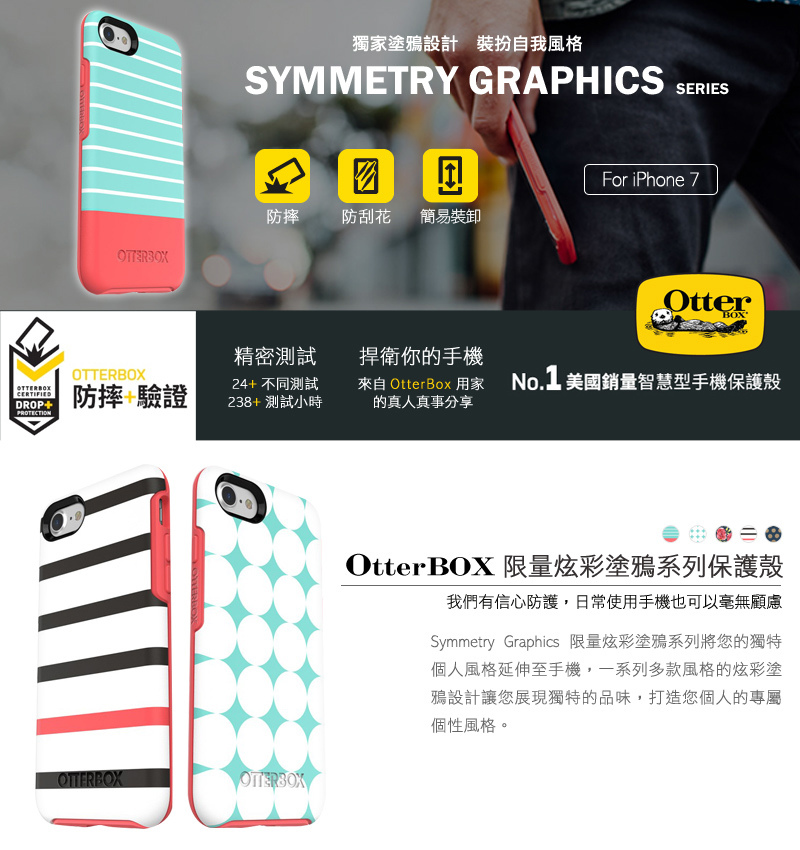OtterBox Symmetry Series 炫彩幾何塗鴉/金屬系列保護殼 for iPhone 7 / 8 plus