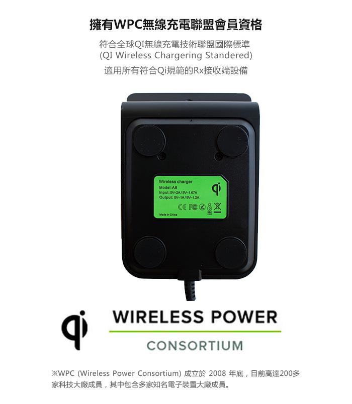 SUNBEAM 10W雙線圈無線快速充電器/座充 A8