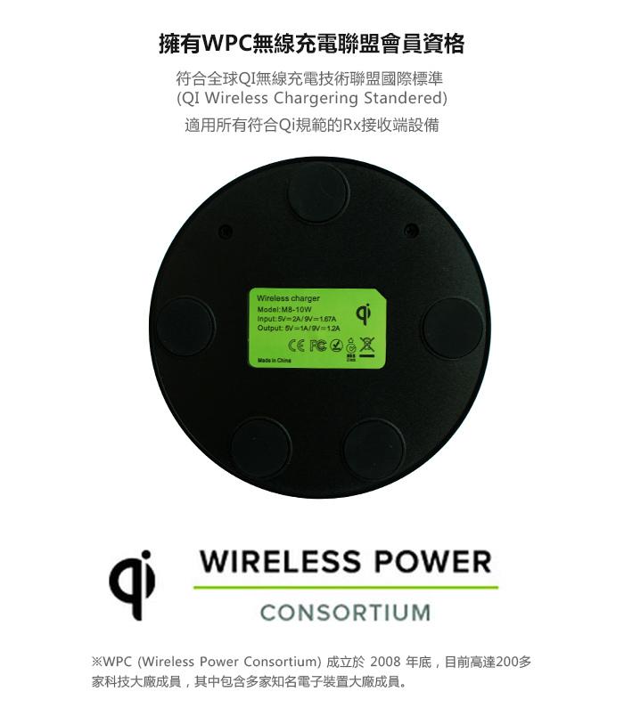 SUNBEAM 10W雙線圈無線快速充電器/座充 M8