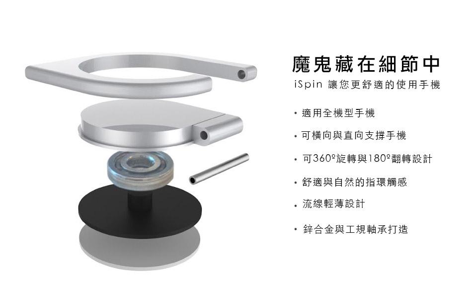 適用全機型手機/可橫向與直向支撐手機/可360º旋轉與180º翻轉設計/舒適與自然的指環觸感/流線輕薄設計/鋅合金與工規軸承打造