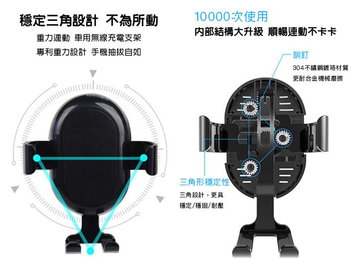 SUNBEAM Qi無線充電車架 C1 穩定三角設計 10000次使用