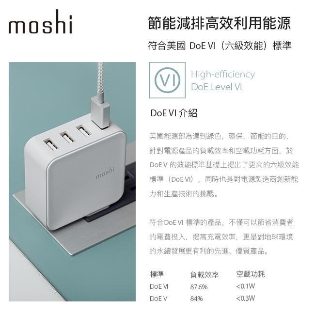 Moshi ProGeo 旅行系列 USB 4 port 充電器 符合美國六級效能 DoE VI
