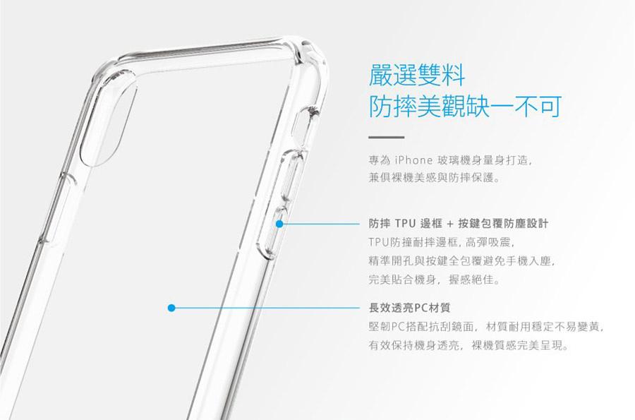 嚴選雙料材質,防摔美觀缺一不可 - JustMobile iPhone XS/Max/XR/X TENC™ Air 國王新衣防摔氣墊保護殼