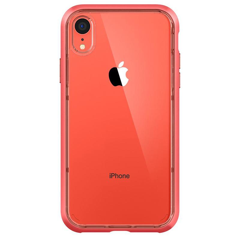 Spigen iPhone Neo Hybrid Crystal 軍規防摔透明保護殼,珊瑚色框配珊瑚色iphone XR