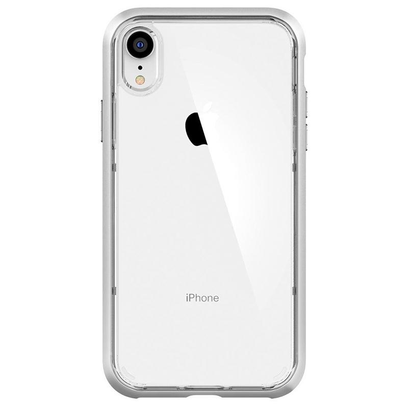 Spigen iPhone Neo Hybrid Crystal 軍規防摔透明保護殼,銀色框配白色iphone XR
