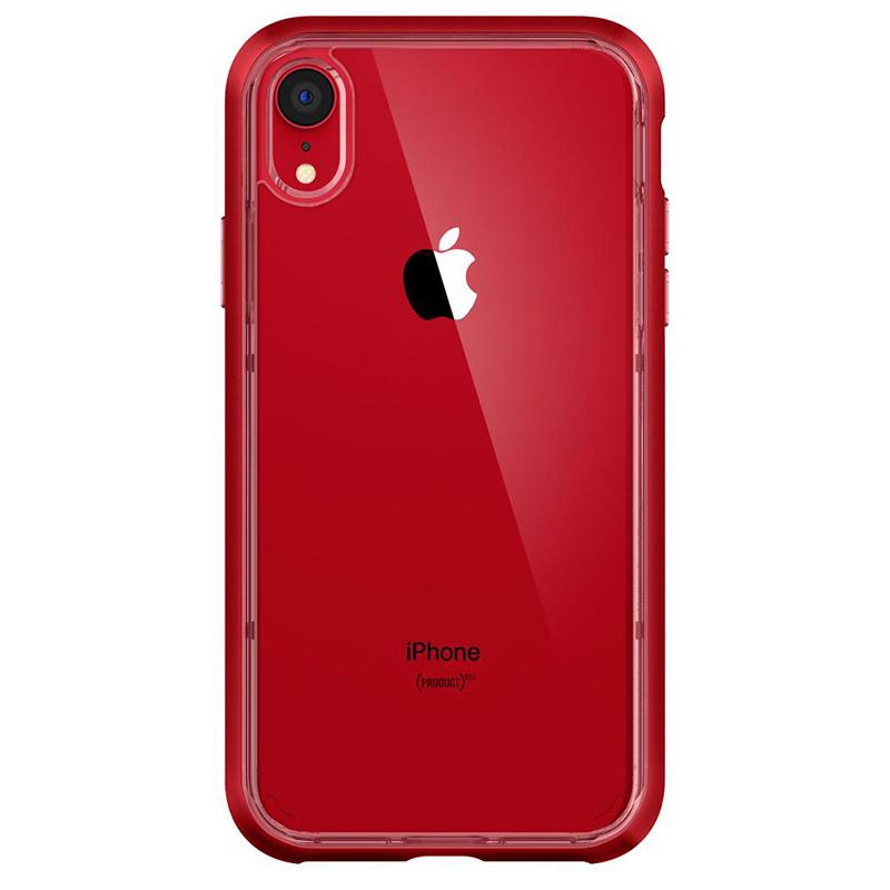 Spigen iPhone Neo Hybrid Crystal 軍規防摔透明保護殼,紅色框配紅色iphone XR