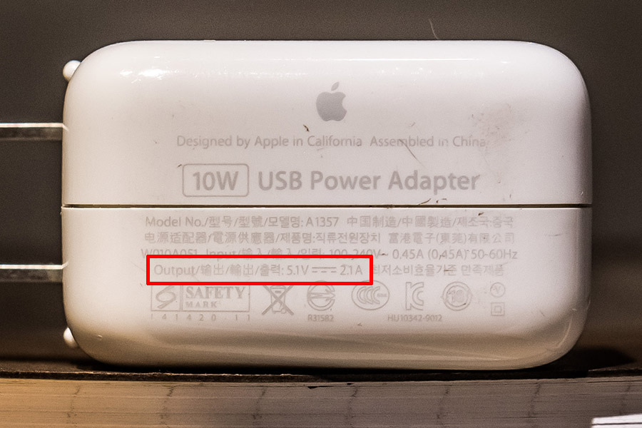 iPad 10W 充電器標示