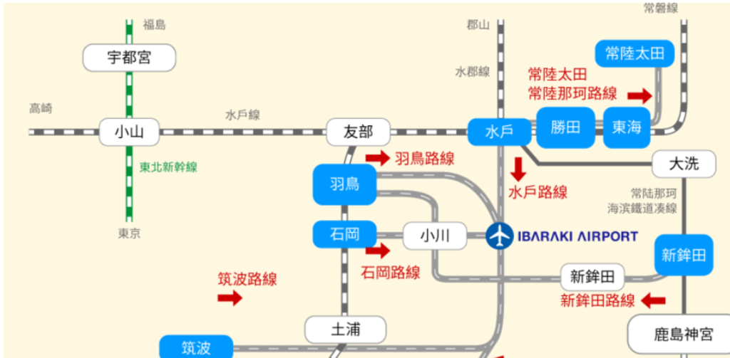 東京 茨城機場 ibaraki airport 茨城空港 巴士 交通 路線圖 虎航