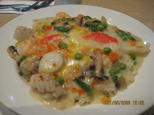 芝士焗白汁海鮮飯