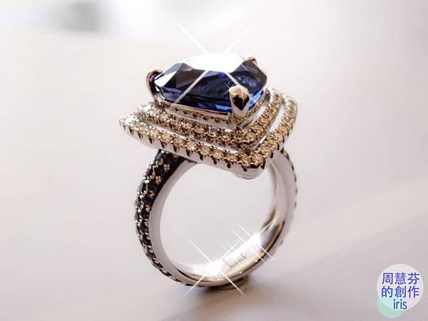 圖6 我設計的「丹泉VS藍寶」鑽戒