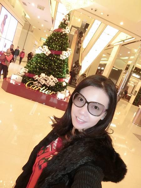 圖1 12月13日我在台北復興Sogo和聖誕樹合照