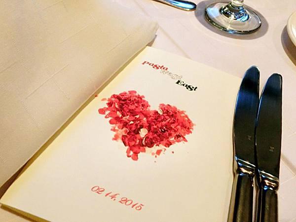 圖1 2015年2月14日紅廚餐廳情人節桌卡