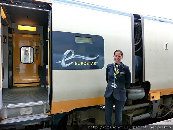 圖1 巴黎到倫敦的歐洲之星列車&服務員