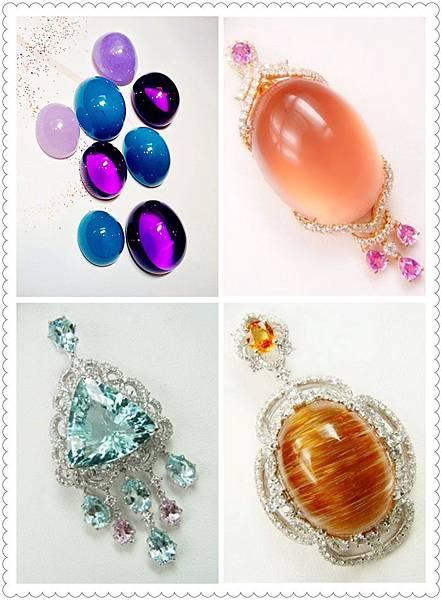 圖1 粉晶星石搭配粉紅剛玉(右上)、海水藍寶搭配摩根石(左下)、髮晶搭配黃色剛玉(右下).jpg