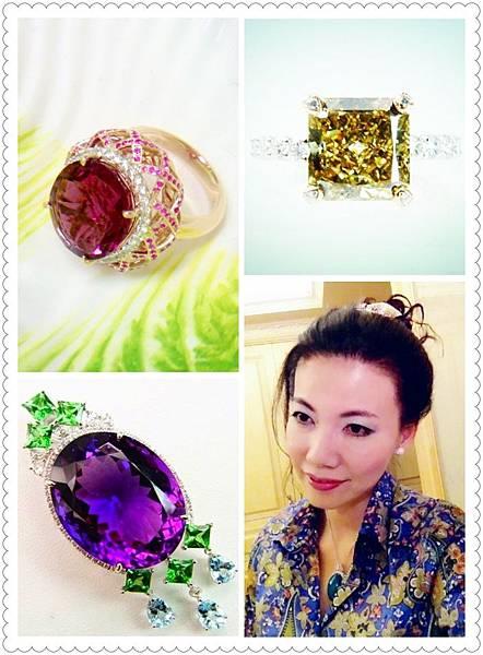 圖1:紫紅榴石搭配粉紅剛玉(左上)、黃綠棕複色彩鑽(右上)、紫水晶搭配沙弗石與海水藍寶(左下).JPG