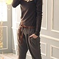 韓版率性假扣裝飾後彈性褲頭老爺褲直筒褲附腰帶-3.jpg