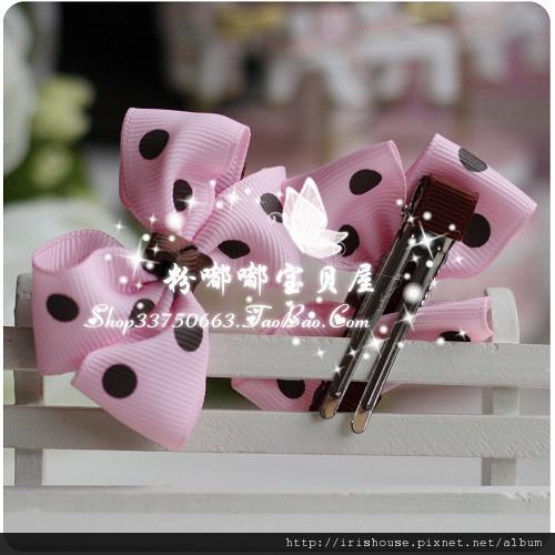 韩国粉色咖啡点点蝴蝶结平夹1.jpg