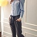 韓版率性假扣裝飾後彈性褲頭老爺褲直筒褲附腰帶-1.jpg