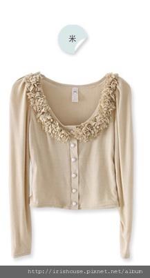韓製圓領立體花朵珍珠扣設計針織罩衫外套-270.jpg