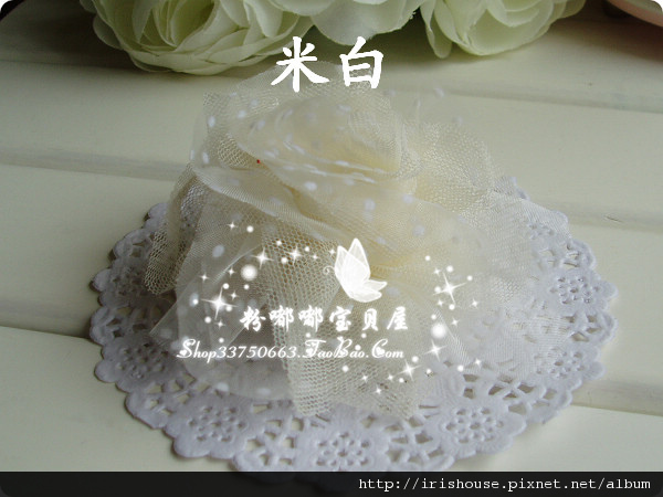 韓國進口點點紗紗花球平夾 清新柔和 -1.jpg