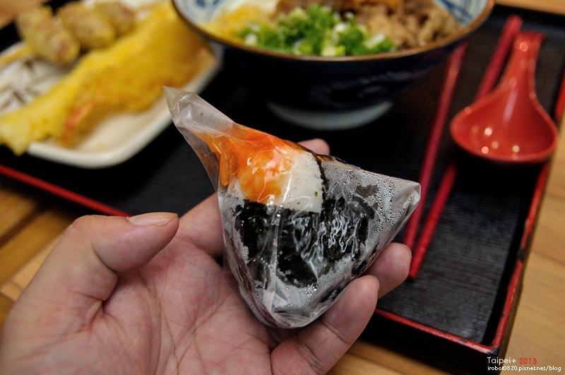 台北-日本丸龜製麵-烏龍麵-牛肉冷釜-明太子飯團.JPG
