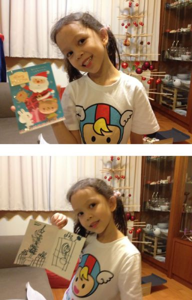 小熊寶貝寫卡片給聖誕老公公