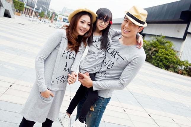 親子裝分享 - 時尚OK系列素灰印字棉t背帶裙