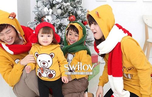 親子裝分享 - 時尚SW系可愛白熊造型連帽上衣